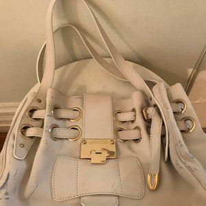 Jimmy Choo White Leather Riki Bag